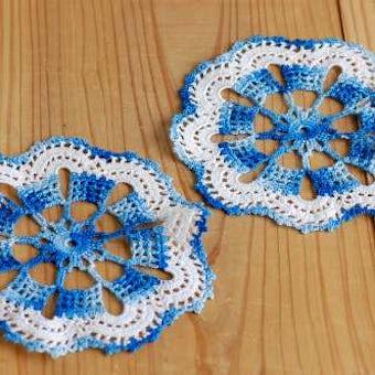 スウェーデンで見つけた手編みドイリー2枚セット(ブルー)の商品写真