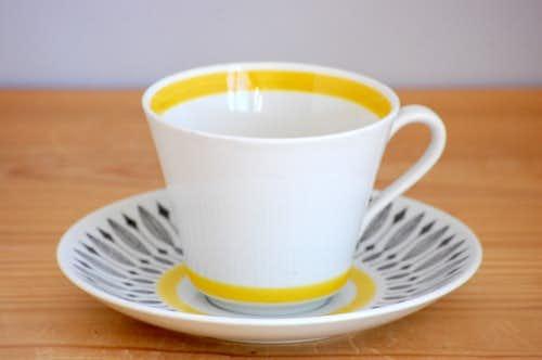 RORSTRAND/ロールストランド/イエローの縁取りが素敵なティーカップ&ソーサー(僅かに難あり)の商品写真