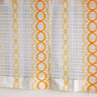 スウェーデンで見つけたヴィンテージカーテン2枚セット(ホワイト&オレンジ)の商品写真