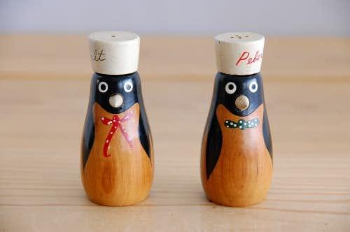 デンマークで見つけた木製の可愛いソルト&ペッパーセット(ペンギン)の商品写真