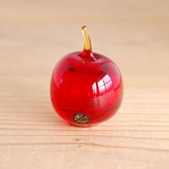 スウェーデンで見つけたガラスのリンゴのオブジェ(レッド)の商品写真