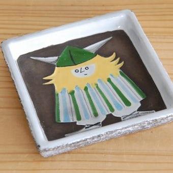Upsala Ekeby/ウプサラエクビイ/バイキング柄が可愛い陶器のスクエアプレート(アッシュトレイ)の商品写真