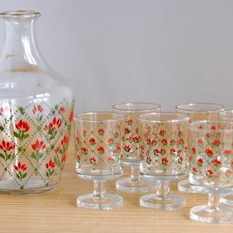 フィンランドで見つけたガラス製ボトル&ショットグラス6個セットの商品写真