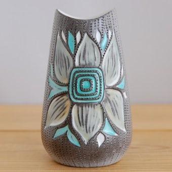 これはレア!!/Upsala Ekeby/ウプサラエクビイ/Mari Simmulson/陶器の花瓶(ブルーのお花)の商品写真