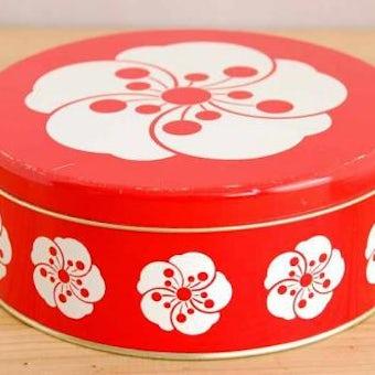 デンマークで見つけたブリキ缶(レッド、お花模様)の商品写真