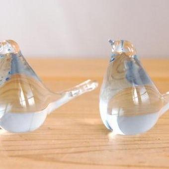 スウェーデンで見つけたガラスの小鳥オブジェ2個セット(薄いブルー)の商品写真