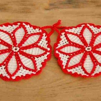 スウェーデンで見つけた手編みのポットマット2枚セット(レッド&ホワイト、ラウンド)の商品写真