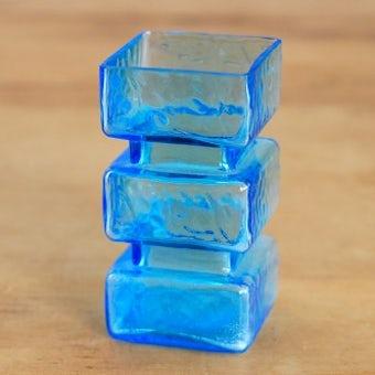 デンマークで見つけたガラスの小さな花瓶(ブルー)の商品写真