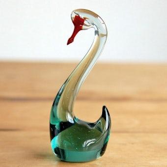 スウェーデンで見つけたガラスの白鳥のオブジェ(L)の商品写真