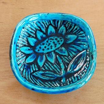 RORSTRAND/ロールストランド/Gunnar Nylund/陶器の小さなプレート(ひまわり柄、ブルー)の商品写真