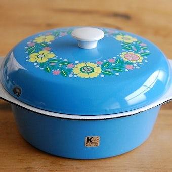 KOCKUMS/コクムス/ホーロー製キャセロール(両手鍋)/ブルー花柄の商品写真