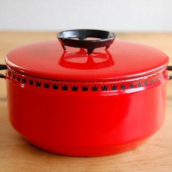 デンマーク/DANKOK/ホーロー製の両手鍋(小)(レッド)の商品写真