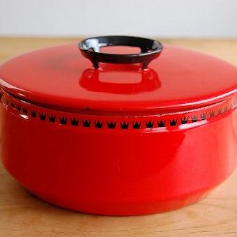 デンマーク/DANKOK/ホーロー製の両手鍋(大)(レッド)の商品写真