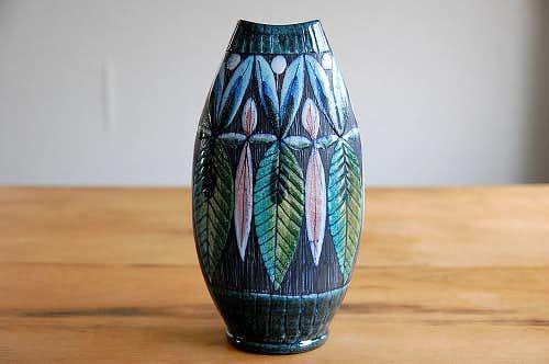スウェーデン/Tilgmans/ティルグマン/陶器の花瓶(木の葉)の商品写真