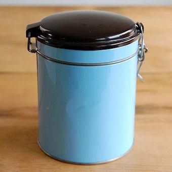 デンマーク/IRA社製/ブリキのコーヒーキャニスター(水色)の商品写真