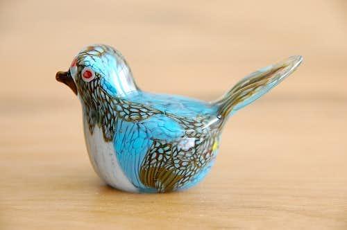 デンマークで見つけたガラスの小鳥オブジェ(グリーン×ホワイト)の商品写真