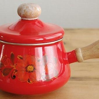 デンマークで見つけたホーロー片手鍋(レッド・花柄)の商品写真