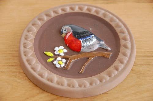 スウェーデンで見つけた小鳥の絵が可愛い陶板の壁掛けの商品写真