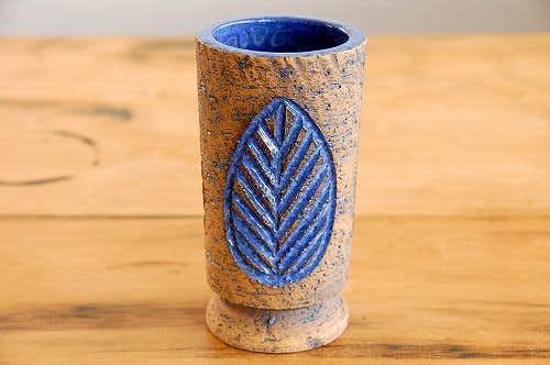 スウェーデン製/LAHOLM/陶器の花瓶(葉っぱ模様)の商品写真