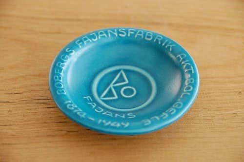 スウェーデンで見つけた陶器の小皿(ブルーグリーン)の商品写真