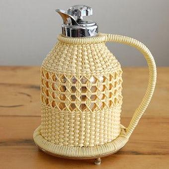 スウェーデンで見つけたビニールストロー素材を編んだカバー付きヴィンテージ魔法瓶の商品写真