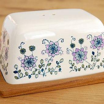 スウェーデンで見つけた花柄が可愛い陶器のチーズドーム(ツマミなし)の商品写真