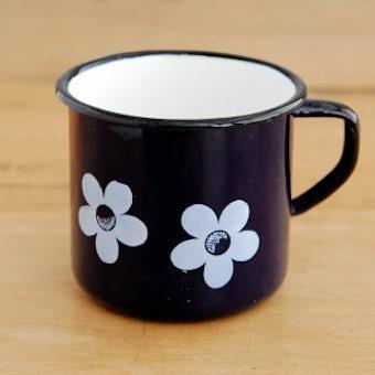 デンマークで見つけたホーロー製マグカップ(ブルー・花柄)の商品写真