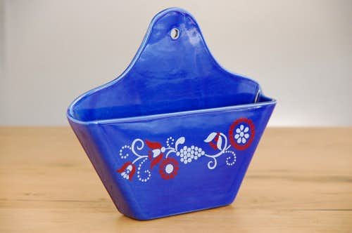 デンマークで見つけた陶器のコーヒーフィルター入れ(ブルー)の商品写真