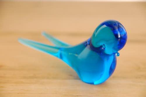 スウェーデンで見つけたカラスの小鳥オブジェ(ブルー)の商品写真