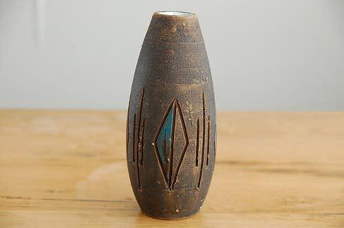 スウェーデン/Tilgmans/ティルグマン/陶器の花瓶(ブラウン)の商品写真