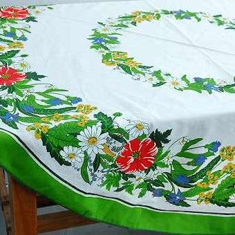 スウェーデンで見つけたテーブルクロス(ラウンド・花柄)の商品写真