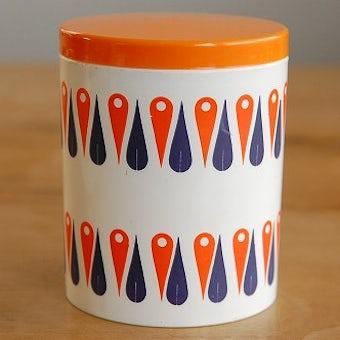 スウェーデンで見つけたプラスティック製キャニスター(オレンジ)の商品写真