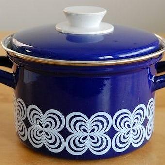スウェーデンで見つけたホーロー両手鍋(ブルー)の商品写真