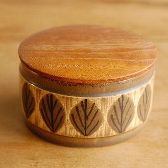 スウェーデンで見つけた葉っぱ模様の陶器のキャニスター(木蓋付き)(小)の商品写真