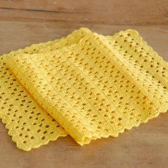 スウェーデンで見つけた手編みのテーブルランナー(イエロー)の商品写真