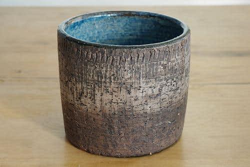 スウェーデンで見つけた陶器の植木鉢カバー(ブラウン)の商品写真