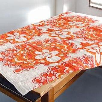 スウェーデンで見つけたヴィンテージカーテン(ホワイト×オレンジ)の商品写真