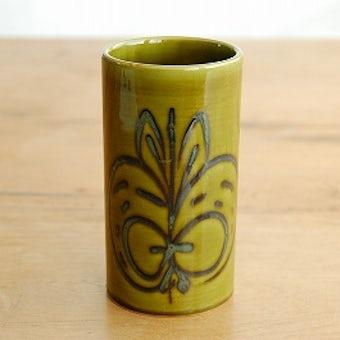 スウェーデンで見つけた陶器の花瓶(モスグリーン・リンゴ模様)の商品写真
