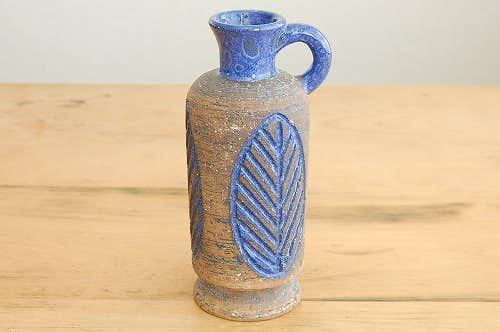 スウェーデン/LAHOLM/持ち手付き陶器の花瓶(ブルー・葉っぱ模様)の商品写真