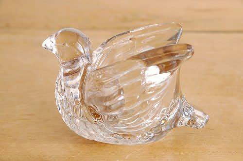 スウェーデンで見つけたガラス製キャンドルカップ/キャンドルスタンド(小鳥)の商品写真