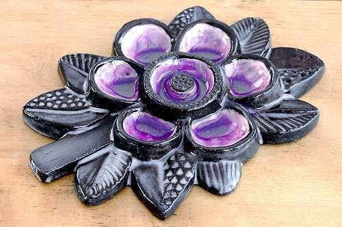 Upsala Ekeby/ウプサラエクビイ/陶板の壁掛け(紫色のお花)の商品写真