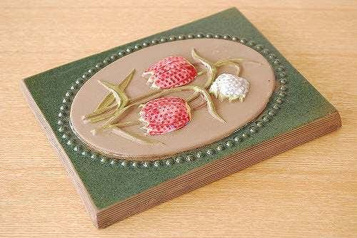スウェーデン/JIE釜/陶板の壁掛け(ピンクと白のお花)の商品写真