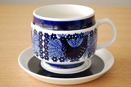 ARABIA/アラビア/模様が美しい陶器のソースポット(受け皿付き)の商品写真