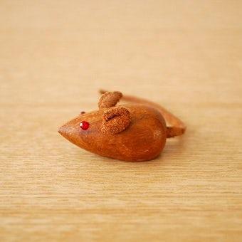 スウェーデンで見つけたチーク材のネズミのオブジェ(小)の商品写真