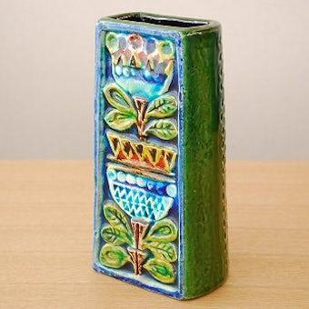 スウェーデンで見つけた陶器の花瓶(チューリップ柄・角型)の商品写真