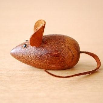 スウェーデンで見つけたチーク材のネズミのオブジェ(大)の商品写真