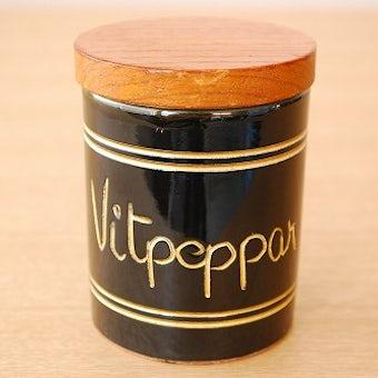 スウェーデンで見つけた木蓋付きスパイスポット/vitpeppar(白胡椒)の商品写真