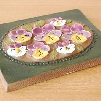 スウェーデン/JIE釜/陶板の壁掛け(大)(パープルのお花)の商品写真