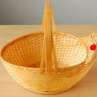 デンマークで見つけたニワトリのモチーフのハンドル付きバスケット(卵入れ)の商品写真