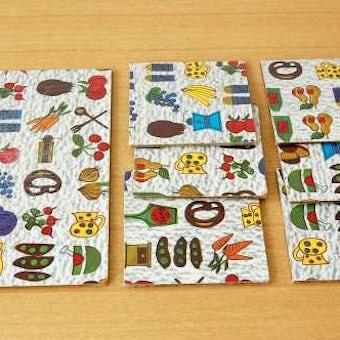デンマークで見つけた食材のイラストのカッティングボード大小7枚セットの商品写真